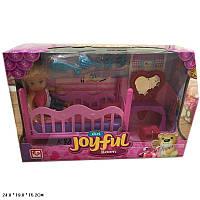 Кукла маленькая K899-79 (24шт/2) кровать, трюмо,стульчик,расчески,заколки в кор.24*15*19см