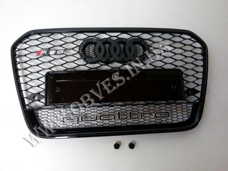 Решетка радиатора Audi A6 C7 2011-2014 стиль RS6 (черная окантовка, надпись Quattro)