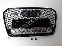 Решетка радиатора Audi A6 C7 2011-2014 стиль RS6 (черная окантовка, надпись Quattro), фото 1