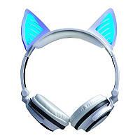 Bluetooth наушники LINX BL108A с кошачьими ушками LED Белые SUN0480, КОД: 103332