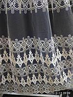 Тюль молочного цвета с вышивкой на фатине Оптом и на метраж Высота 2.8 м, фото 1