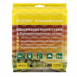 Губка ЕСТЕМ одноразовая пенная с дерматологическим гелем Home&Travel № 1