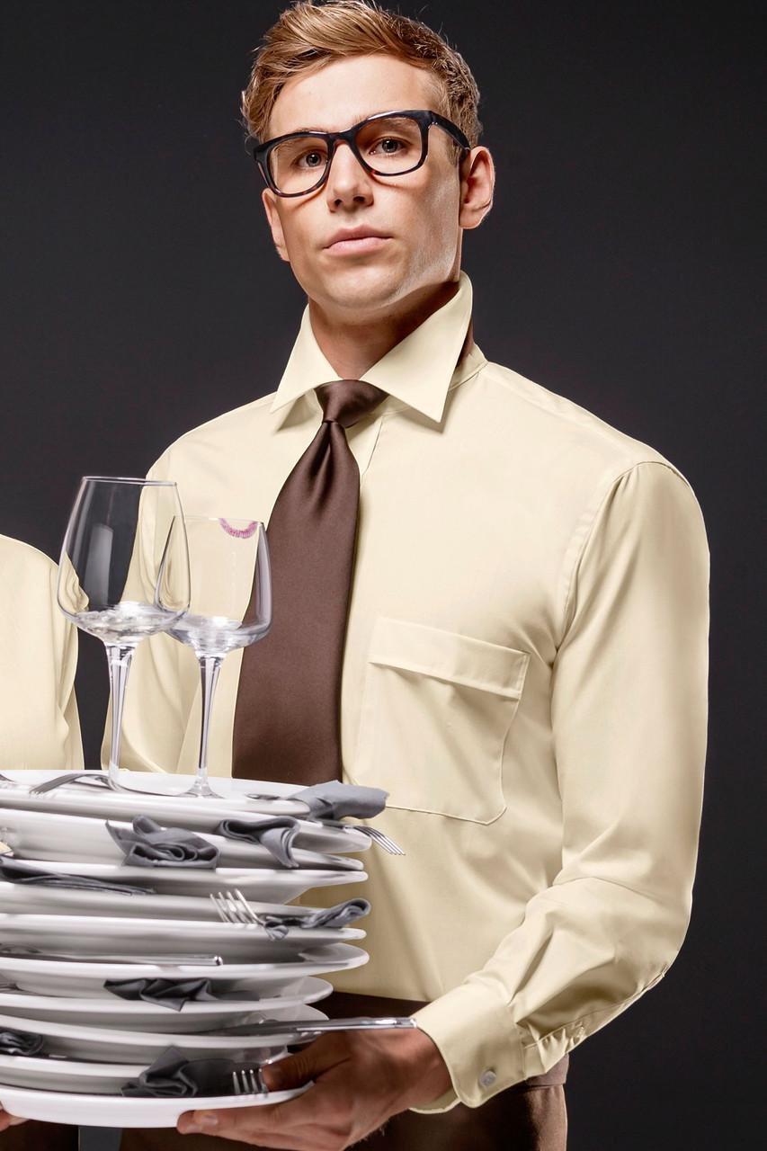 Рубашка официанта TEXSTYLE мужская с карманом бежевая