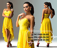 Нарядное шифоновое платье без бритель, лиф декорирован стразами, спинка на резинке, с многослойной удлиненной сзади юбкой, желтое