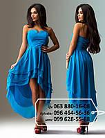 Красивое шифоновое платье без бритель, лиф декорирован стразами, спинка на резинке, с многослойной удлиненной сзади юбкой, голубое