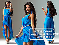 Легкое шифоновое платье для романтического образа, без рукава, с необычной двуслойной юбкой удлиненной сзади, на тоненьком пояске, голубое