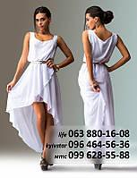 Красивое шифоновое платье для романтического образа, без рукава, с необычной двуслойной юбкой удлиненной сзади