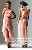 Нежное шифоновое платье для романтического образа, без рукава, с необычной двуслойной юбкой удлиненной сзади, на тоненьком пояске, кремовое