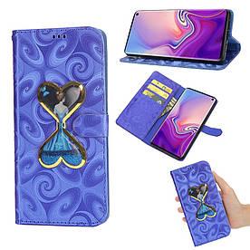 Чехол книжка для Samsung Galaxy S10e G970 боковой с отсеком для визиток Aqua series, Сердца, синий