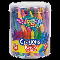 """Набор восковых мелков в большом тубусе """"Big Pacфk"""" 64 шт Colorino Crayons"""