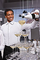 Рубашка официанта, бармена мужская TEXSTYLE белая с кантом
