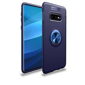 Чехол накладка для Samsung Galaxy S10e G970 противоударный с магнитным кольцом, синий
