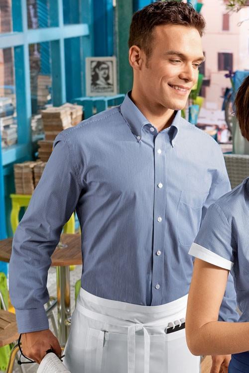 Рубашка официанта мужская TEXSTYLE голубая длинный рукав прованс