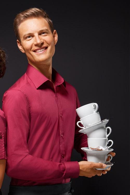 Рубашка официанта и бармена мужская TEXSTYLE длинный рукав бордовая