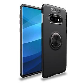 Чехол накладка для Samsung Galaxy S10e G970 противоударный с магнитным кольцом, черный