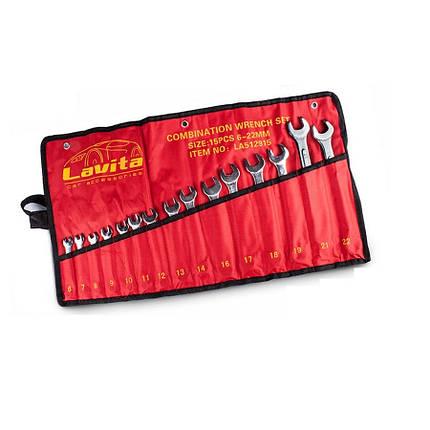 Набор ключей комбинированных 6-22мм. 15 шт. LAVITA LA 512915, фото 2