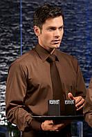 Рубашка официанта бармена TEXSTYLE мужская длинный рукав коричневая
