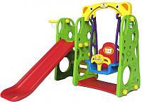 Детская площадка игровая 4 в 1 горка, качеля, баскетбол, фото 1