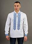 Вышитая мужская рубашка из льна с синим орнаментом, фото 3