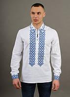 Льняная вышитая мужская сорочка с синим орнаментом