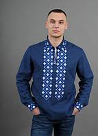 Вышитая мужская рубашка из льна с синим орнаментом