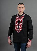 Праздничная мужская сорочка вышиванка с красным орнаментом