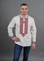 Нарядная сорочка мужская из льна машинная вышивка