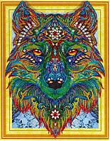 Алмазная вышивка Сильный волк 40 х 50 см (арт. PR865) частичная выкладка