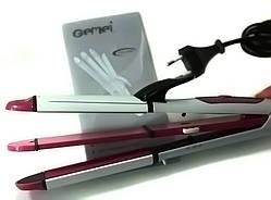 Утюжок выпрямитель плойка для укладки волос гофре 3 в 1 Gemei GM 2966, бело-розовая