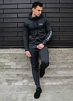 Мужской спортивный костюм с капюшоном Under Armour большой знак антрацит