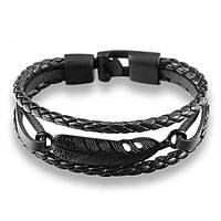 Мужской браслет - Перышко (Черный)