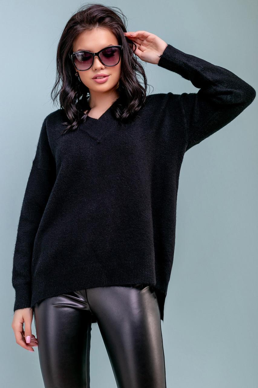 Женский свободный свитер, размер 42-50, чёрный, широкий, повседневный, молодёжный