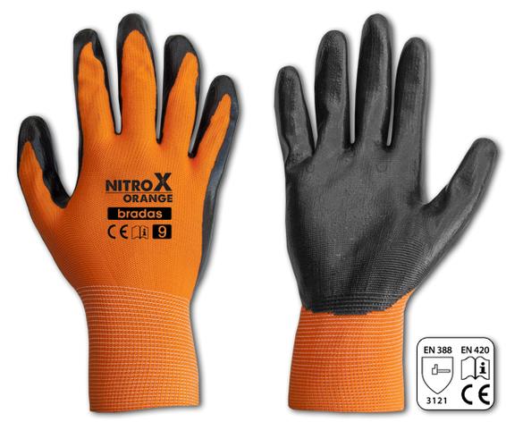Перчатки защитные NITROX ORANGE нитрил, размер 10, RWNO10, фото 2