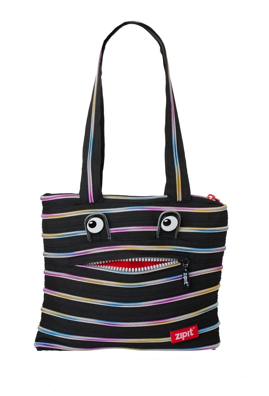 Сумка Zipit Monsters Tote / Beach  Black & Rainbow Teeth (ZBZM-1)