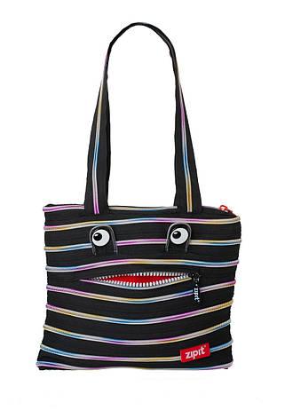 Сумка ZIPIT MONSTERS Tote / Beach, цвет Black & Rainbow Teeth (черный), фото 2
