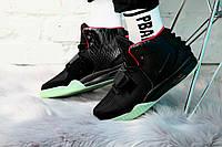 Кроссовки мужские Nike Air Yeezy 2 SP в стиле Найк Аир Изи 2 СП, сетка, текстиль код KS-0056. Черные с зеленым