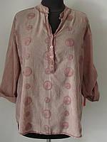 Оригинальная блуза-рубашка с вышивкой. Рукавчик подворачивается. (р.48-50) Код 5396М