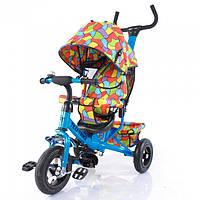 Велосипед детский трехколесный с крышей и надувными колесами TILLY Trike T-351-1 Blue (Голубой)