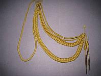 Аксельбант желтый с двумя наконечниками металлизированная нить