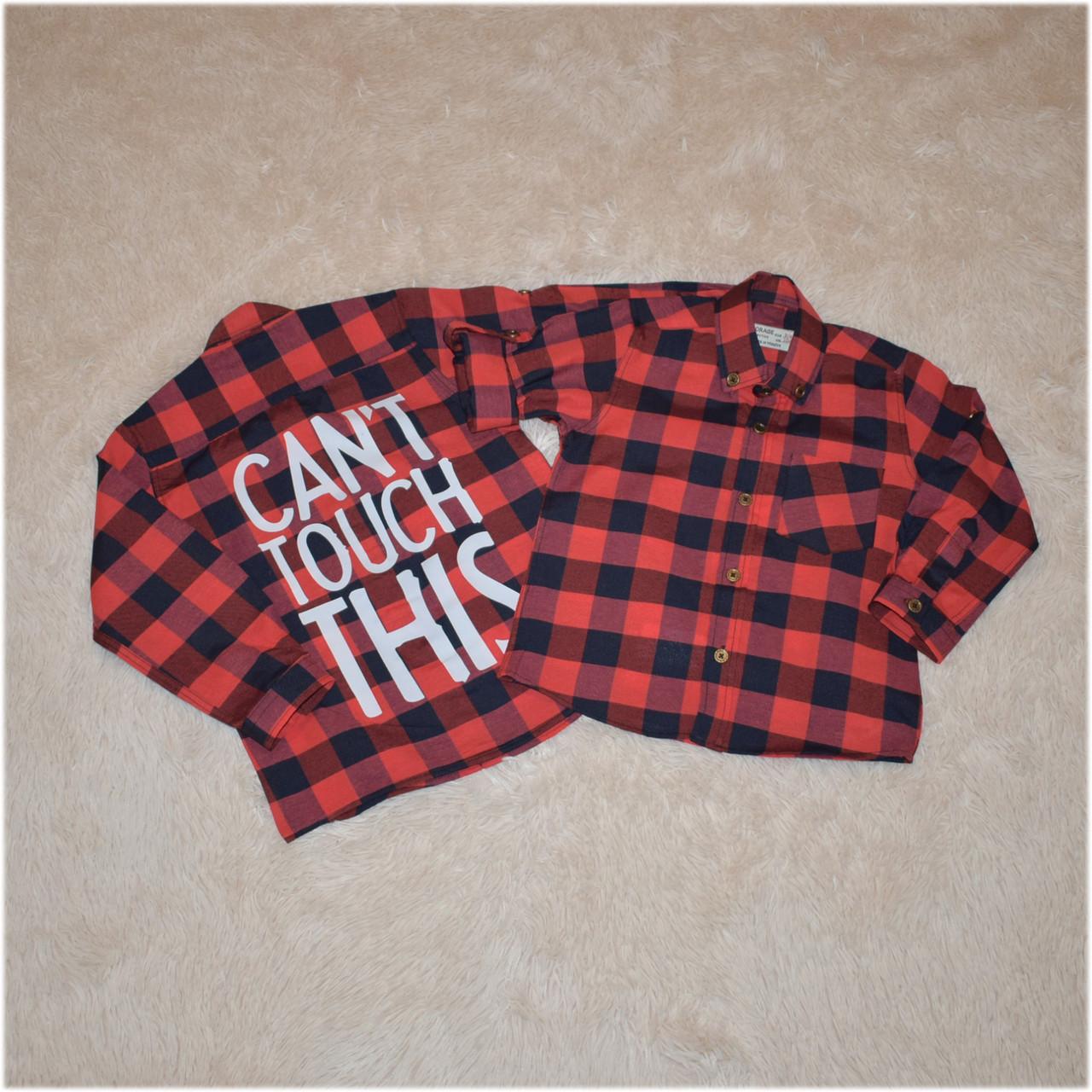 Рубашка на мальчика в клетку красного цвета Турция  размер  104 110 116 122 128 134 140 146 152