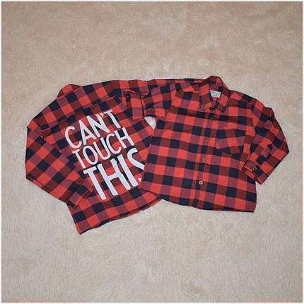 Рубашка на мальчика в клетку красного цвета Турция  размер  104 110 116 122 128 134 140 146 152 , фото 2