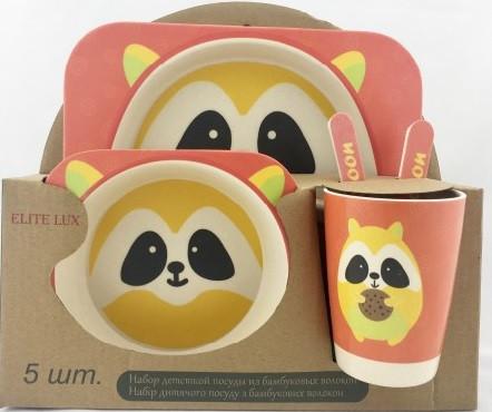 Набор детской посуды из бамбукового волокна Енот Elite Lux, 5 предметов