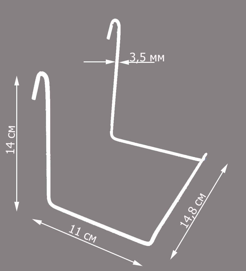 Полка-крючок для обуви на торговую сетку (без перекладины)