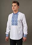 Батистовая мужская сорочка с вышитым орнаментом крестиком, фото 3