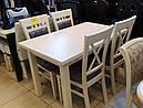 Стол Классик Люкс ваниль 120(+40+40)*80 обеденный раскладной деревянный, фото 2