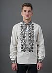 Нарядная сорочка вышиванка мужская белая с красным орнаментом, фото 3