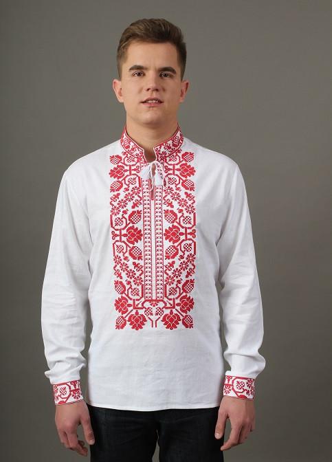 Нарядная сорочка вышиванка мужская белая с красным орнаментом