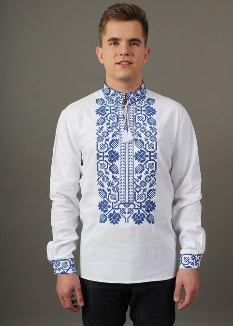 Льняная вышитая сорочка для мужчин с богато расшитым орнаментом