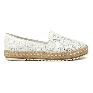 Кожаные эспадрильи 39 размер на низком ходу Woman's heel белые маломерные с закругленным носком