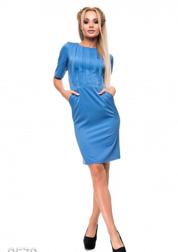 78e2ec1d897 Платье Голубое платье-футляр с лифом в сборку и разрезом сзади (есть  размеры)